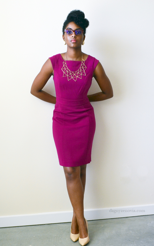 Dagny Zenovia: The Limited fuchsia dress + F21 gold necklace + Dillards nude heels
