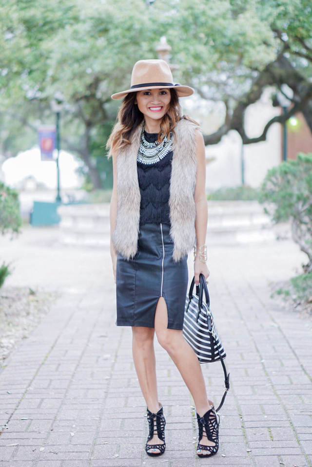 Dawn's mix of textures is so chic.
