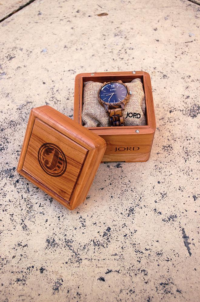 Dagny Zenovia JORD Frankie Zebrawood Navy Watch