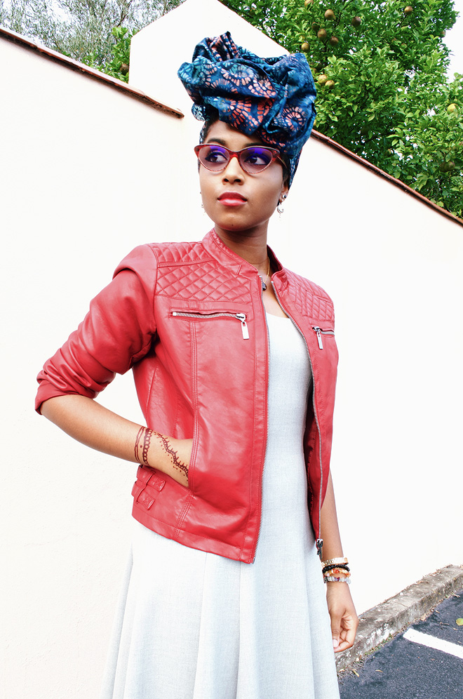 Dagny Zenovia African Head Wrap Leather Jacket